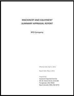 heavy machinery and equipment appraisals